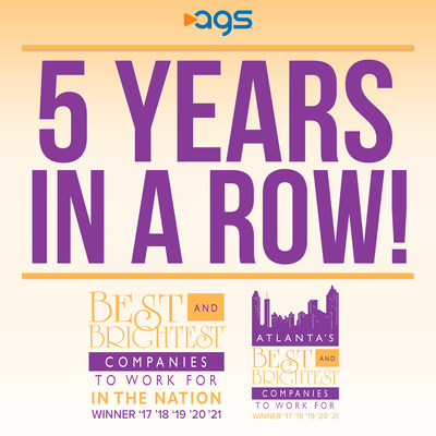 For Fifth Consecutive Year, AGS Wins Both Best And Brightest Companies To Work For In The Nation® And In Atlanta; Recognized For Outstanding Employee Culture