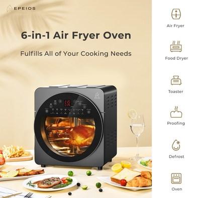 El horno freidora de aire 6 en 1 de 14 litros EPEIOS consigue que la cocina sea un juego de niños