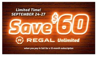 Kick Off the Fall Movie Season with $60 Off Regal Unlimited ™