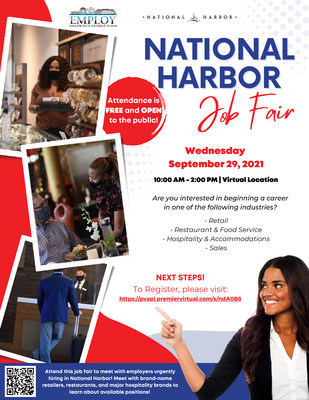 Employ Prince George's Partners With National Harbor Businesses To Host National Harbor Job Fair On September 29th