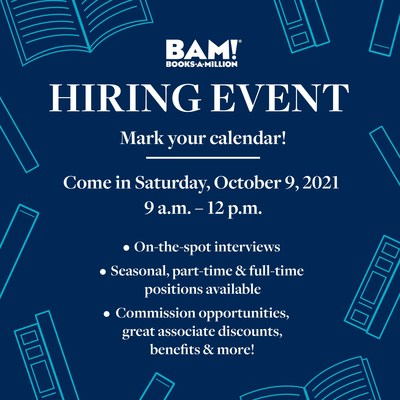 Books-A-Million Aims to Hire 1,000 New Associates in One Day at Its Nationwide Hiring Event Ahead of the Holiday Shopping Season