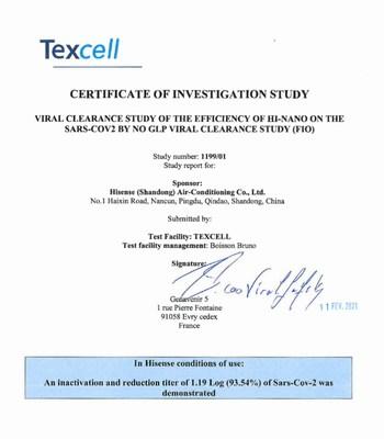 HI-NANO: la nueva tecnología de Hisense inactiva el virus que causa la COVID-19 con una tasa de efectividad de hasta el 93,54 %