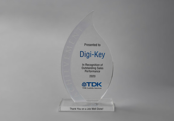 Digi-Key Electronics Recognized for Outstanding Sales Performance by TDK-Lambda