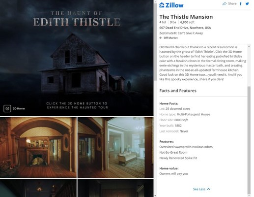 Zillow Creates First-of-Its-Kind Interactive Virtual Haunted House