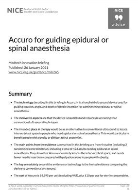 RIVANNA® Announces Publication of Medtech Innovation Briefing on the Use of Accuro® by United Kingdom's NICE