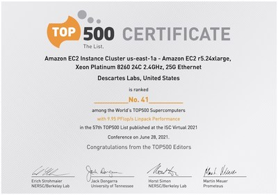 Descartes Labs Achieves #41 in TOP500 With Cloud-Based Supercomputing Demonstration Powered by AWS, Signaling New Era for Geospatial Data Analysis at Scale